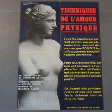 Affiche cinéma 1969 originale film érotique sexy,techniques de l amour physique