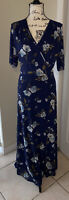 New Womens Harlou & Rose Blue Floral Wrap Style Maxi Dress Size M Stretchy Med
