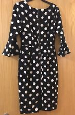 Myleene Klass Black White Polka Dot Dress With Bell Sleeves Size 8