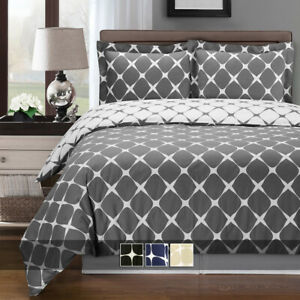 Bloomingdale 3 Piece Duvet Cover Set 100% Cotton Soft Reversible Comforter Cover