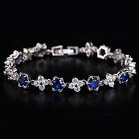 Elegant White Gold Plated Cubic Zircon Crystal Bracelet Bangle Wedding Jewelry
