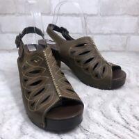 Dansko Leather ROWENA Laser Cut Slingback Open Toe Sandal Clogs Size 39 US 9