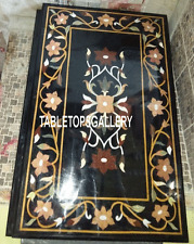 4'x2' Black Marble Dining Table Top Real Marquetry Inlay Art Kitchen Decor H3186