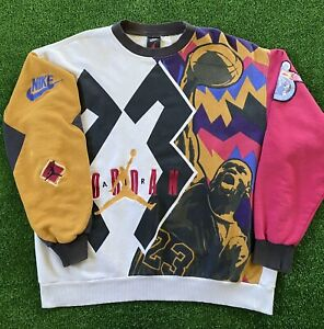 Vintage 90s Nike Air Jordan Pullover Sweatshirt 1992 VII 7 All Over Print XL
