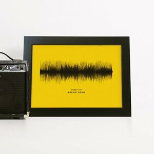 Personalised Sound Wave Poster Print Variety of Paper Colours Gifts Men Wedding
