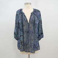 Joie Blouse Top Womens S Small Silk Floral Navy Blue Green Semi-Sheer V-Neck