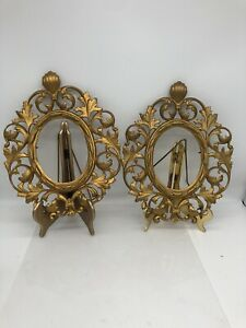 Set Of 2 Nouveau Cast Iron Gold Gilded  Easel Back Vanity Dresser Frames