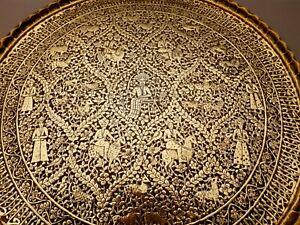 19th CENTURY ANTIQUE ISLAMIC PERSIAN CAIROWARE DAMASCUS INDIAN BRASS TRAY 58cm