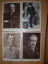 JOB LOT 4 BRITISH POLITICIAN POSTCARDS - CHURCHILL BALDWIN BALFOUR CHAMBERLAIN