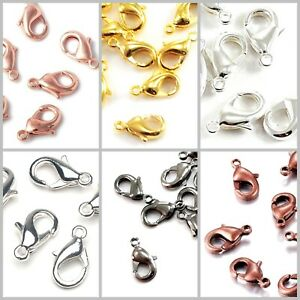 lobster 1 cm making jewelry silver finish snap fasteners Platinum creative supplies silver clasps set of 10