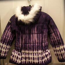 NWT Amy Byer Purple White Puffer Jacket Coat-Girl's Sz M10/12, Faux Fur on Hood