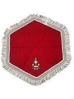 Vtg Rennoc Santa's Best Hexagon Uncut Tree Skirt Red Felt Christmas Fringe