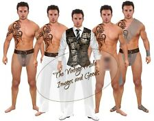 Anatomically Correct Squeaky Clean or S&M Paper Doll Hunk w/ Tattoo & Chain Mail