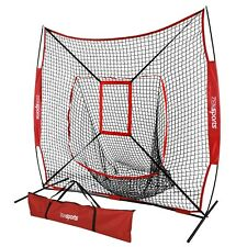 Portable 7×7' Baseball Softball Practice Hitting Net Bow Frame Bag W/ Carry Bag