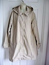 L.L.Bean XL Ladies Trench Coat Beige Hooded Zip and Snap Front Elegant Classic