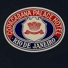 Copacabana Palace Hotel RIO DE JANEIRO Brazil Old Luggage Label Kofferaufkleber