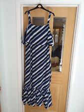 MARKS & SPENCER BLUE& WHITE STRIPED MAXI DRESS COLD SHOULDER LINED POLYESTER