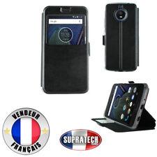 Etui Rabattable Simili Cuir Noir avec Ouverture Ecran pour Motorola E4 Plus