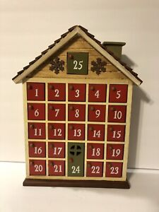Advent Calendar Wooden Christmas House with 25 doors Countdown Holiday Decor