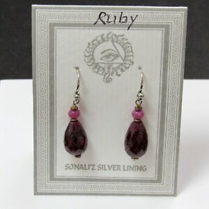 """CLOSEOUT -EARRINGS Ruby faceted drops Sterling Silver Hook Sonali'z 1 1/4"""" NEW"""