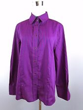 ETERNA Women's Purple Striped Classic Long Sleeve Blouse Shirt Top sz 16 XL BD67