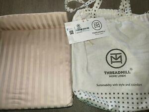 NEW TAN KING SIZE FLAT SHEET NWT DAMSK STRIPE cotton 600 thread count NICE!