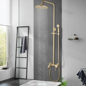 Brushed Gold Rainfall Shower Faucet System 3 Ways Water Mixer Wall Mounted Taps