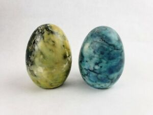 2 Vintage Marble Eggs Blue Yellow Made in Italy Flat Bottom Easter Display