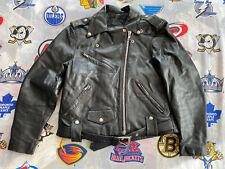 Harley-Davidson Black Leather Belt Jacket Biker Motorcycle Men's VINTAGE Medium