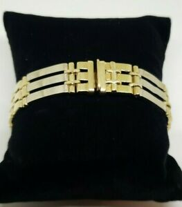 18k Yellow & White Gold Bar Link Bracelet 7.5 Inches Heavy Gold 35 Grams 13 mm