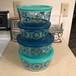 "4 Pyrex Blue Floral Glass Bowl Set Flower 6"" 7.5"" Turquoise Food Storage Lids"