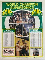 "World Champion Seattle SuperSonics 25""x19"" 1979/80 Schedule KIRO Vintage Poster"
