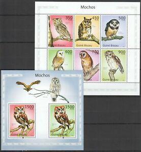 BC787 2010 GUINEA-BISSAU FAUNA BIRDS OWLS MOCHOS 1KB+1BL MNH