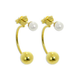 Gold Plated 925 Real Sterling Silver Pearl Half Hoop & Ball Stud Earrings