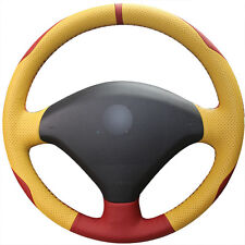 DIY Top Yellow Leather Steering Wheel Hand-stitch on Wrap Cover For Peugeot 307