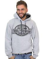 Harley-Davidson Mens Oval Skull & Banner Pullover Grey Hoodie Sweatshirt