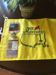 JORDAN SPIETH  AUTO SIGNED GOLF BALL  JSA COA+ 2015 MASTERS FLAG & BADGE ! 3 LOT