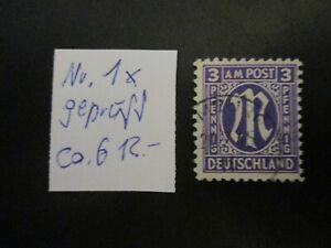 Allierte Besetzung (US & Brit. Zone)1945, Freim: M im Oval - Mi-no: 1x gepr -AL2