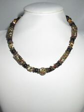 Stone Beaded Vintage Statement Necklace Painted Abstract Multi-Color Choker CHIC