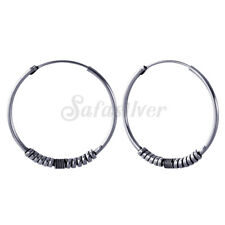 925 Sterling Silver Oxidized Spiral wire  beaded Bali hoops 25 mm