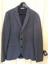 SISLEY laine & coton veste 38 48 RRP £ 90 Blazer Manteau gris-bleu BENETTON