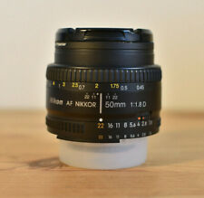 NIKON AF NIKKOR 50MM 1:1.8D PRIME LENS WITH CAPS & UV FILTER