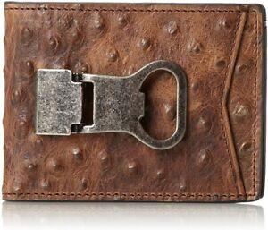Nocona Belt Co Mens Double Bifold Money Clip Bottle Opener Wallet, Ostrich Brown