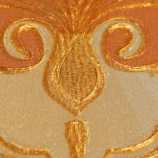 Textured and  gold embossed classic damask red wallpaper 10m Roll