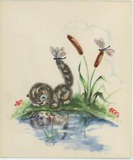 VINTAGE CUTE TABBY CAT KITTEN PUSSY WILLOWS DRAGONFLY REFLECTION NOTE CARD PRINT