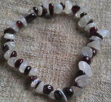 Garnet & rainbow moonstone chip perles bracelet cristal de guérison