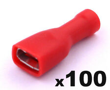 100x Red Fully Insulated Female Spade Electrical Connector Crimp Terminals 6.3mm