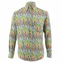 Mens Loud Shirt Retro Psychedelic Funky Party TAILORED FIT Green Abstract