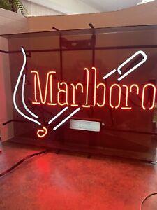 "Large MARLBORO NEON LIGHT SIGN, Bar Man Cave, vintage, 21"" x 28"" Bright Colors!"