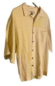 Tommy Bahama Men's Silk Shirt Size Large Button Up Palm Trees Aloha 2 tone